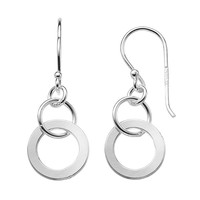 Sterling Silver Circle Drop Earrings (Grey)