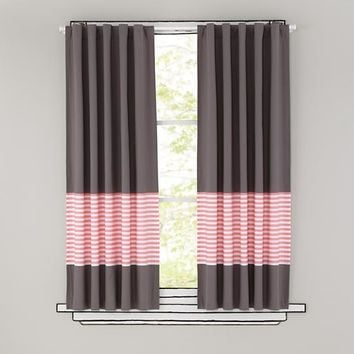 New School Curtain Panels (Pink Stripe)