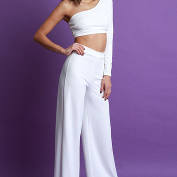 One Shoulder Crop Top with Palazzo Pants Set | UrbanOG