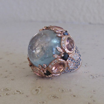 Rose Gold Ring- Tourmaine Ring- Aquamarine Ring- Engagement Ring- Designer Ring- Statement Ring- March Birthstone Ring- Promise Ring