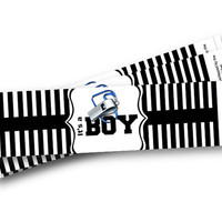Referee Water Bottle Labels for Baby Shower It's a BOY Sports theme black and white striped whistle referee sports water labels
