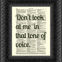Dictionary Art Print, Dorothy Parker Print, Text Art, Vintage Dictionary Page, Dorothy Parker Quote, Tone of Voice