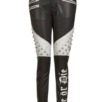 Ride or Die Slogan Leather Trousers - New In This Week - New In