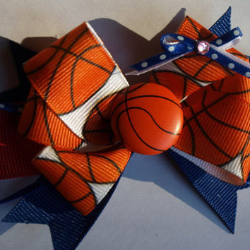 basketball customized hair bow by mylittlebows on Etsy