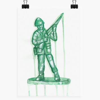 Green Toy Soldier Original Watercolor Painting on Watercolor paper. Watercolor Art of Toy soldier. Military Toy. Man Cave Art