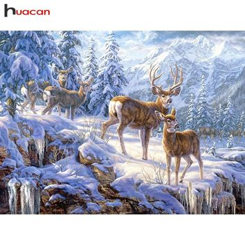 5D Diamond Painting Deer in the Snowy Mountains Kit