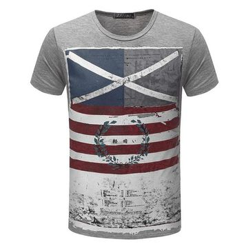 American Flag Striped Color Printed T Shirt