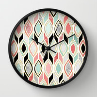 Patchwork Pattern in Coral, Mint, Black & White Wall Clock by Micklyn