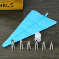 Silicone Icing Piping Cream Pastry Bag + 6x Stainless Steel Nozzle Set Cake Decorating Tool