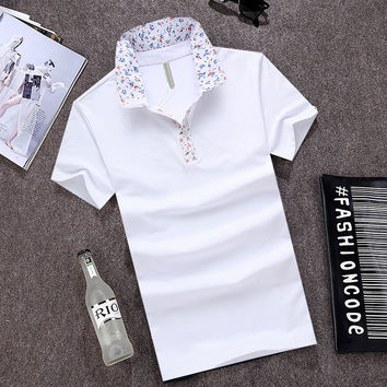 Summer Tops Cotton Casual Slim Stretch Short Sleeve T-shirts [6541359811]