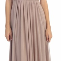 Studded Scoop Neckline Ruched Bodice Mocha Evening Dress (12 Colors Available)