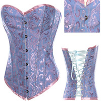 Purple Floral lace Corset with Front Button