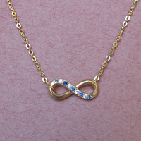 Infinity Necklace With Crystal Stones - Anniversary Gift - Name Necklace