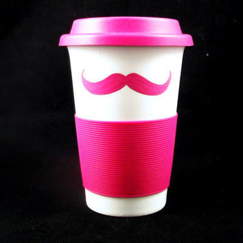 2 Sided Travel Mustache Mug Love Pink Handpainted by kaoriglass