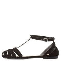 Bamboo T-Strap Huarache Sandals by Charlotte Russe