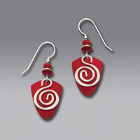 Adajio Earrings - Vibrant Red Shield with Silver Plate Wire Spiral