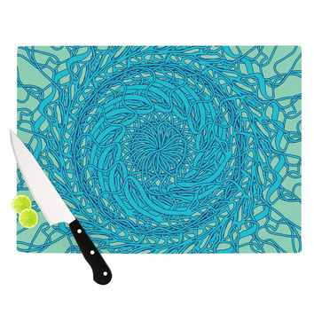 "Patternmuse ""Mandala Spin Mint"" Green Blue Cutting Board"