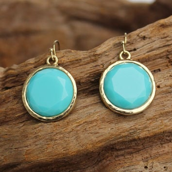 Round Earrings, Brilliant Blue