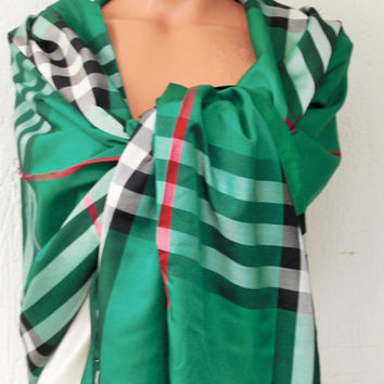 Green Silk Scarf , Women Scarf , Summer Nursing Scarf , Plaid Scarf , Head Scarf , Boho Scarf , Fabric Scarf , Women fashion , Gift for Her