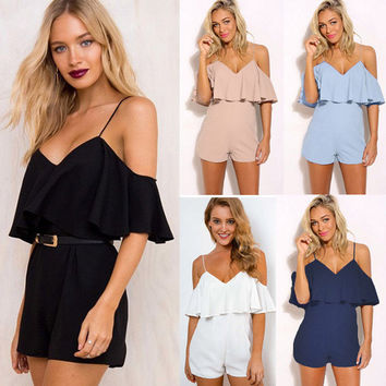 Women's Macacao Summer Chiffon Backless Pockets Overalls Romper