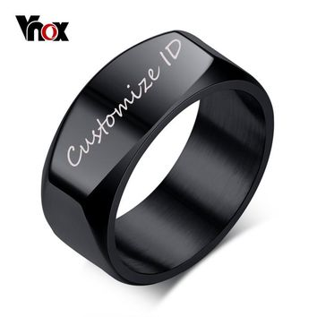 Vnox 8mm Free Engraving/Record Mens Ring Punk Stainless Steel Basic Ring for Men Boy Cocktail Male Ceremony Jewelry