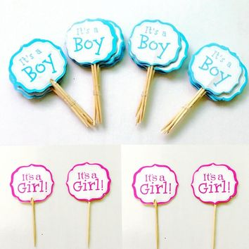 720pcs Letter It's a Girl Boy Cupcake Toppers Pick baby shower kids 100 days 1 year Birthday Cake flag Decoration Party Supplies