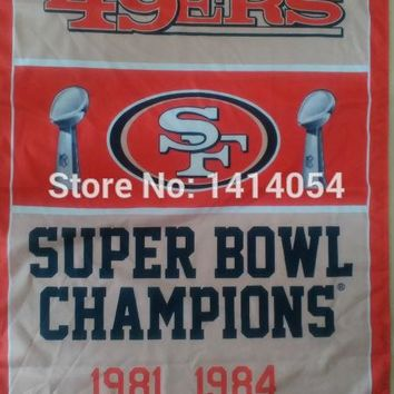 San Francisco 49ers Super Bowl Champions Flag 150X90CM Banner 100D Polyester3x5 FT flag brass grommets 001, free shipping