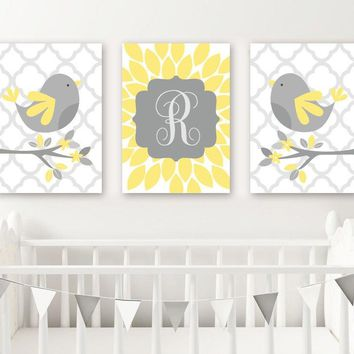 Yellow Gray Bird Nursery Wall Art, CANVAS or Prints, Baby Name Girl Decor, Girl Bedroom Wall Decor, Set of 3, Above Crib Decor Wall Decor