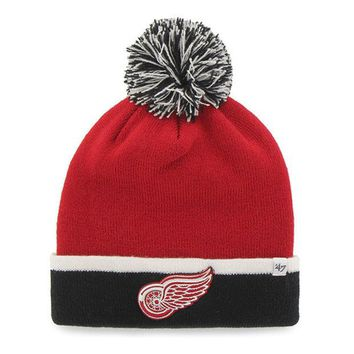 DCCKG8Q NHL 47 Brand Detroit Red Wings Red Baraka Two Tone Cuff Knit Hat w/ Pom