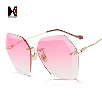 SHAUNA Oversize Women Rimless Square Sunglasses Brand Designer Fashion Ladies Pink Gradient Lens Shades