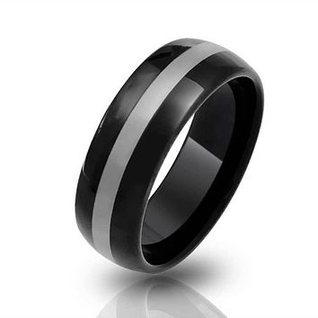 Simple Black Grey Inset Stripe Couples Wedding Band Tungsten Rings 8MM