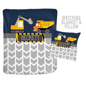 CONSTRUCTION Blanket Pillow Set - Construction Trucks Decor - Trucks Bedding - Personalized Name Blanket -Velveteen -Baby Boy Shower Gift