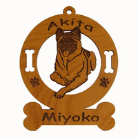 1128 Akita Sitting Ornament Personalized with Your Dog's Name