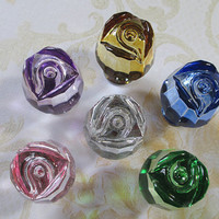 Glass Cabinet Knobs Rose / Shabby Chic Dresser Drawer Knobs Pulls Handles / Pink Red Amber Yellow Green Blue Purple Clear Furniture Knob