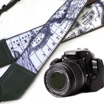 Grey DSLR Camera Strap. World Map Camera Strap. Camera accessories. Photographer gift.