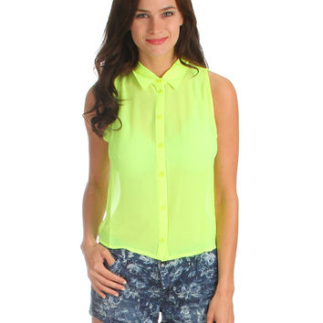 NEON LIME SLEEVELESS BUTTON UP TOP WITH SPLIT BACK