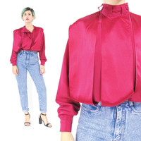 80s Avant Garde Draped Silk Blouse Fuchsia Magenta Pink Silk Blouse Long Sleeve Silk Blouse Womens Silk Shirt Slouchy Batwing Blouse (S)