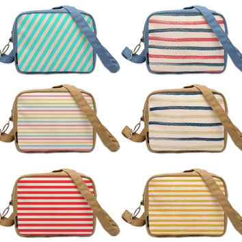Colorful Marker Stripes  Print Canvas Casual Crossbody Bag Purse WAS_20