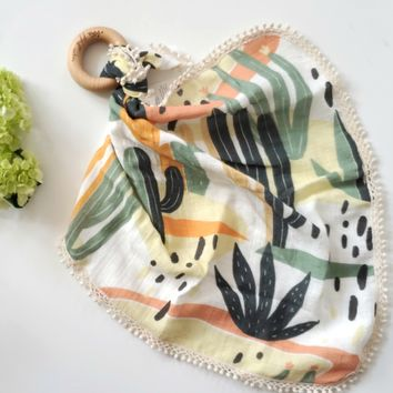 Desert Cactus -  Organic Muslin Lovey with Teething Ring