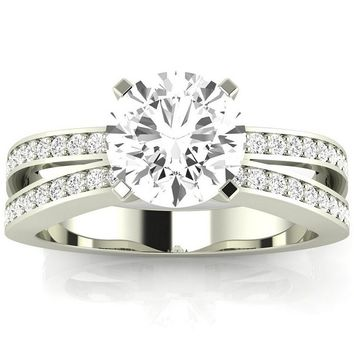CERTIFIED | 14K White Gold 1.25 CTW Round Cut Contemporary Double Row Split Shank Engagement Ring, K Color VS1-VS2 Clarity Center Stone (Platinum, Yellow, White, Rose)