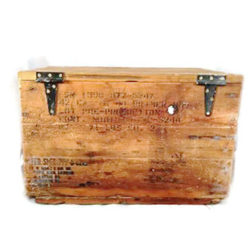 Vintage Military Wood Ammo Box with Hindged, Naval Weapons Lab. Lid with Airline Stamp