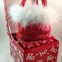 Christmas Holiday Cookie Gift Boxes with clear liners and feather gift bag purse