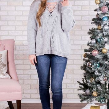 DCCKGE8 Front Lace Up Sweater