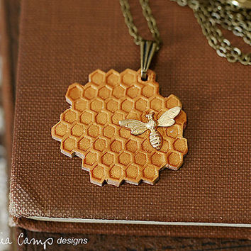 Tiny Gold Bee and Honeycomb Necklace on Brass Chain - Ready to Ship