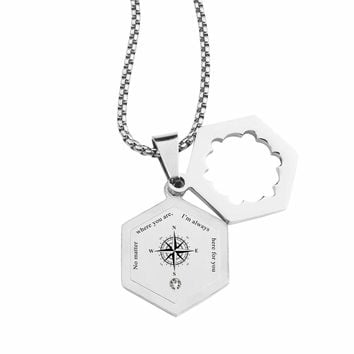 Life Compass Double Hexagram Necklace with Cubic Zirconia by Pink Box - HERE FOR YOU