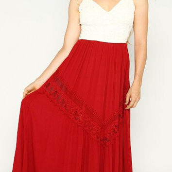Crocheted And Jeweled Lace Formal Maxi Full Length Peasant Dress (Small/Indie Brands)