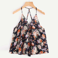 Floral printing Camis Top 2017 Summer Women Crop Top Vest Casual Sleeveless Bandage Tank Shirt Off Shoulder Chiffon Tank Top