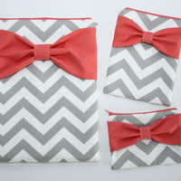 Coordinating Set of Cases - MacBook, iPad / Pad Mini, and Free Cosmetic Case - Gray Chevron Coral Bow - Padded - Sized to Fit Any Brand