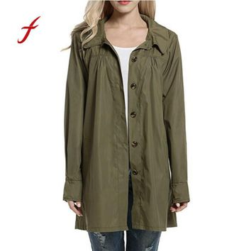 FEITONG Women's Hooded Coat Fashion Lightweight Outwear Waterproof Raincoat Jacket Casual Long Sleeve Solid Autumn Winter coat