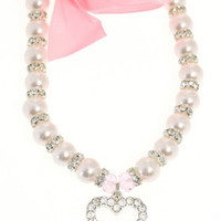 Pearl Heart Charm Dog Necklace | Famous Chihuahua: Clothes and outfits for your cute tiny dog!